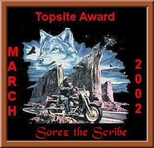 Awarded on March 31, 2002, click award to visit Sorez the Scribe